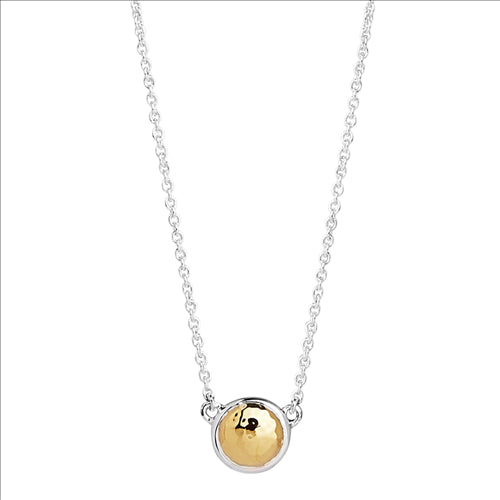 Najo Sterling Silver & Yellow Gold Beaten Disc Pendant