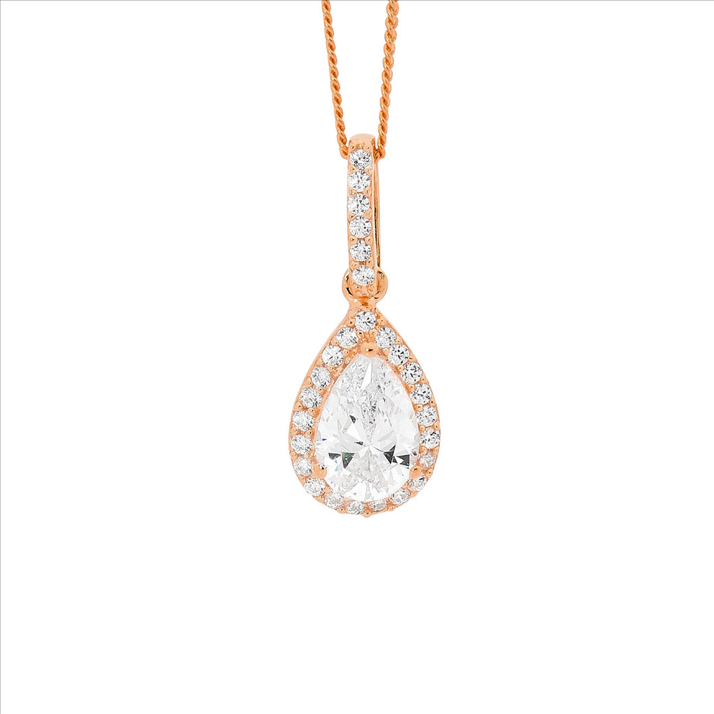 Ss Wh Cz Pear Drop Pendant, Cz Surround W/ Rose Gold Plating