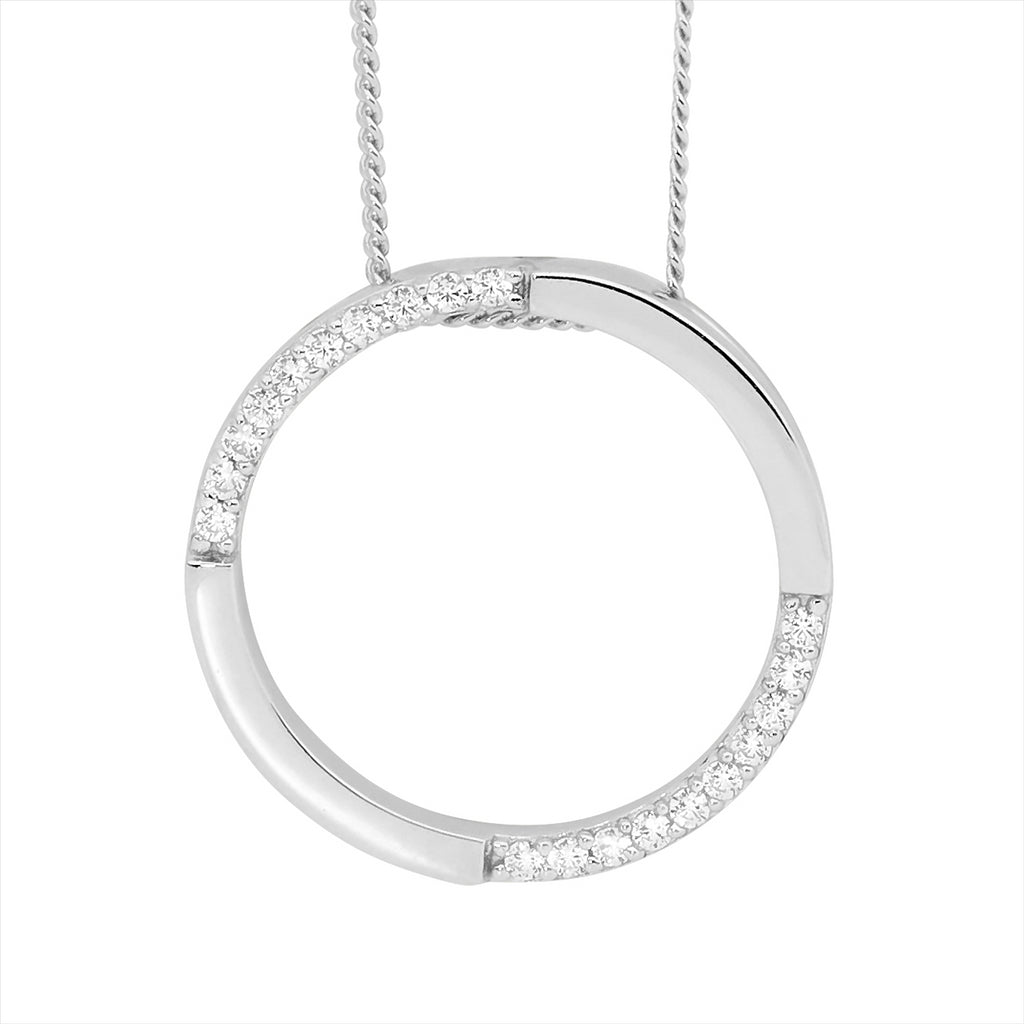 Ss Wh Cz 20Mm Open Circle Pendant