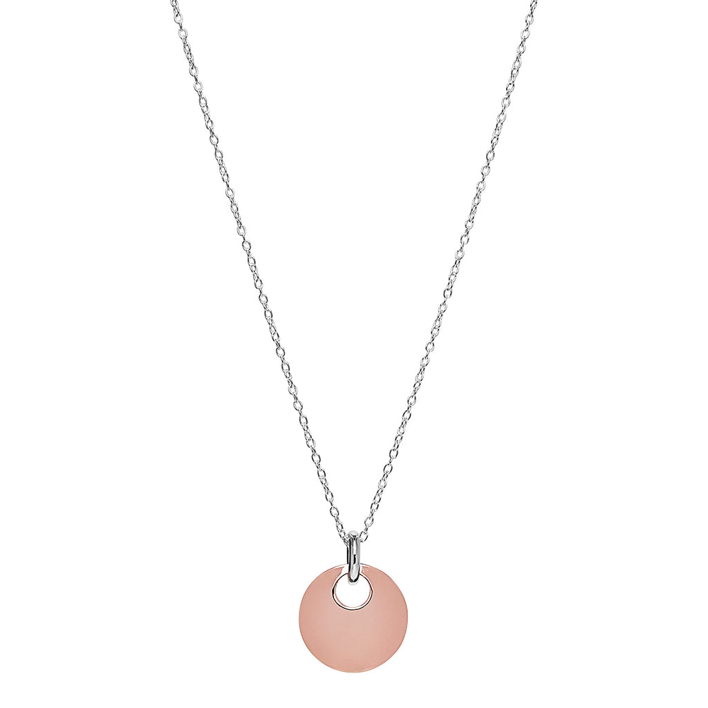 Najo Sterling Silver & Rose Gold Puff Disc Pendant