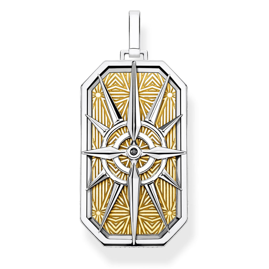 Compass Dog Tag Yellow Goldplate Pendant