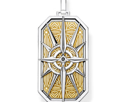 Compass Dog Tag Yellow Gold Plate Pendant