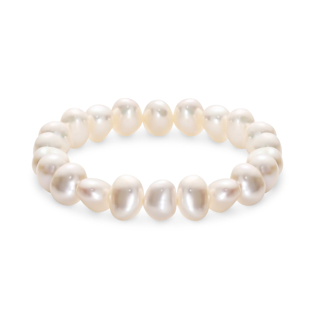 Freshwater White 10Mm Double Shiny Elastic Bracelet 18.5Cm