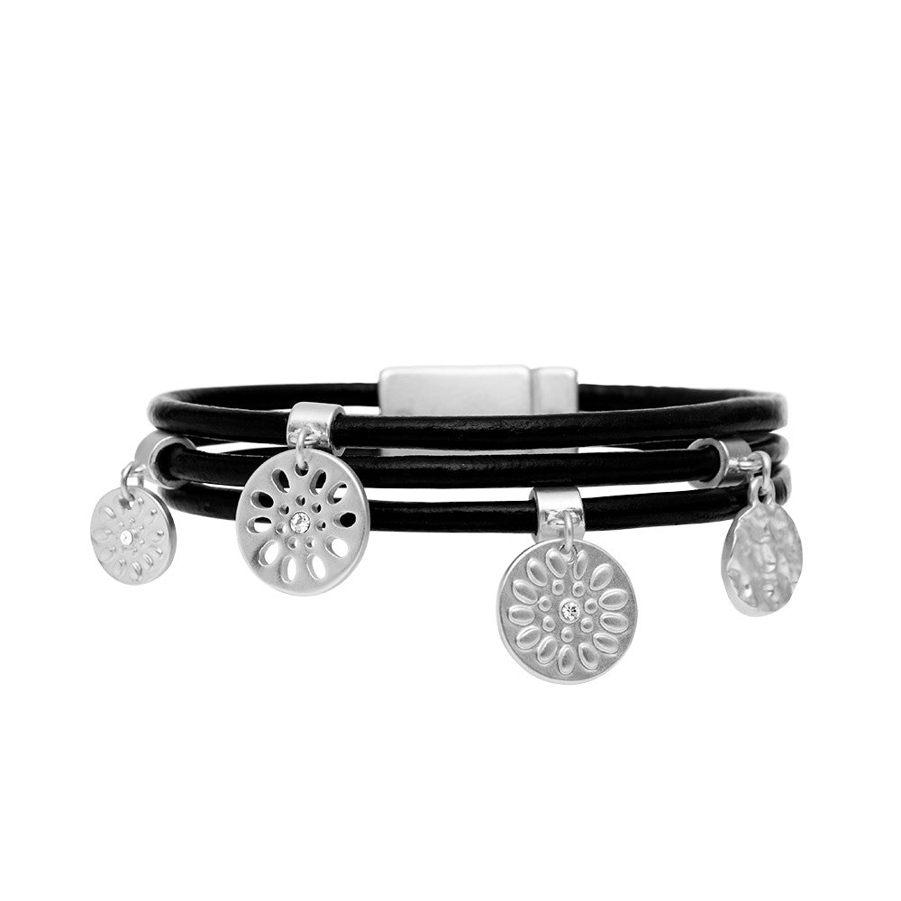 Daisy Embossed Black Leather & Silver Colour Bracelet