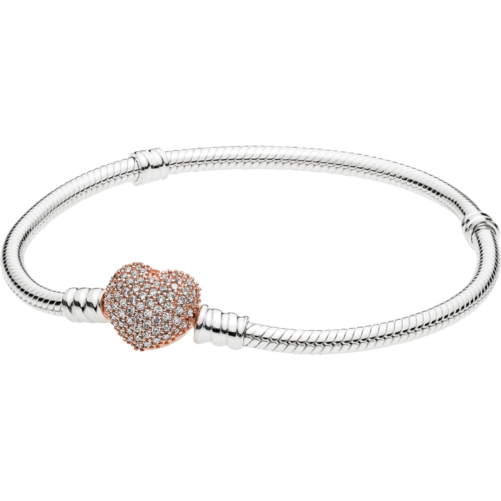 Moments Silver Bracelet W Pandora Rose Pave Heart Clasp