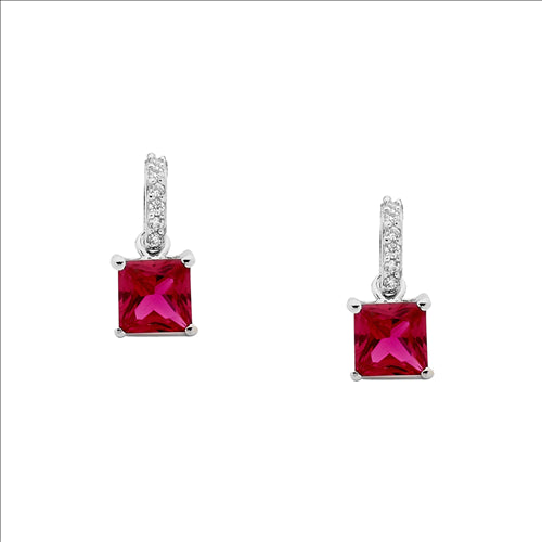 Sterling Silver White And Red Cz Earrings