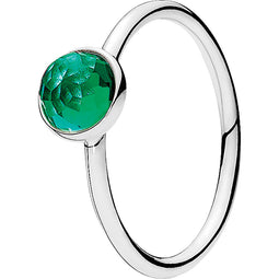 May Droplet Silver Feature Ring W Green Crystal