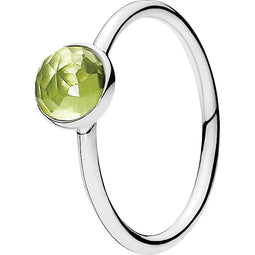 August Droplet Silver Feature Ring W Peridot