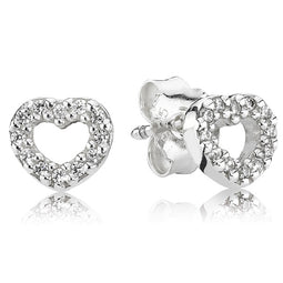 Silver Stud Earrings, Cz Hearts