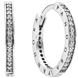 Pandora Signature Logo Silver Hoop Earrings