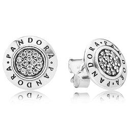 Pandora Signature Logo Silver Stud Earrings