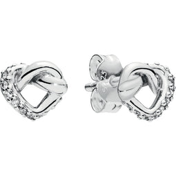 Knotted Hearts Silver Studs W Clear Cz