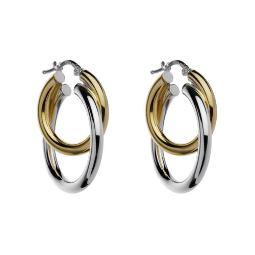 Hollow Tube Stg & Yg Plated Double Hoop