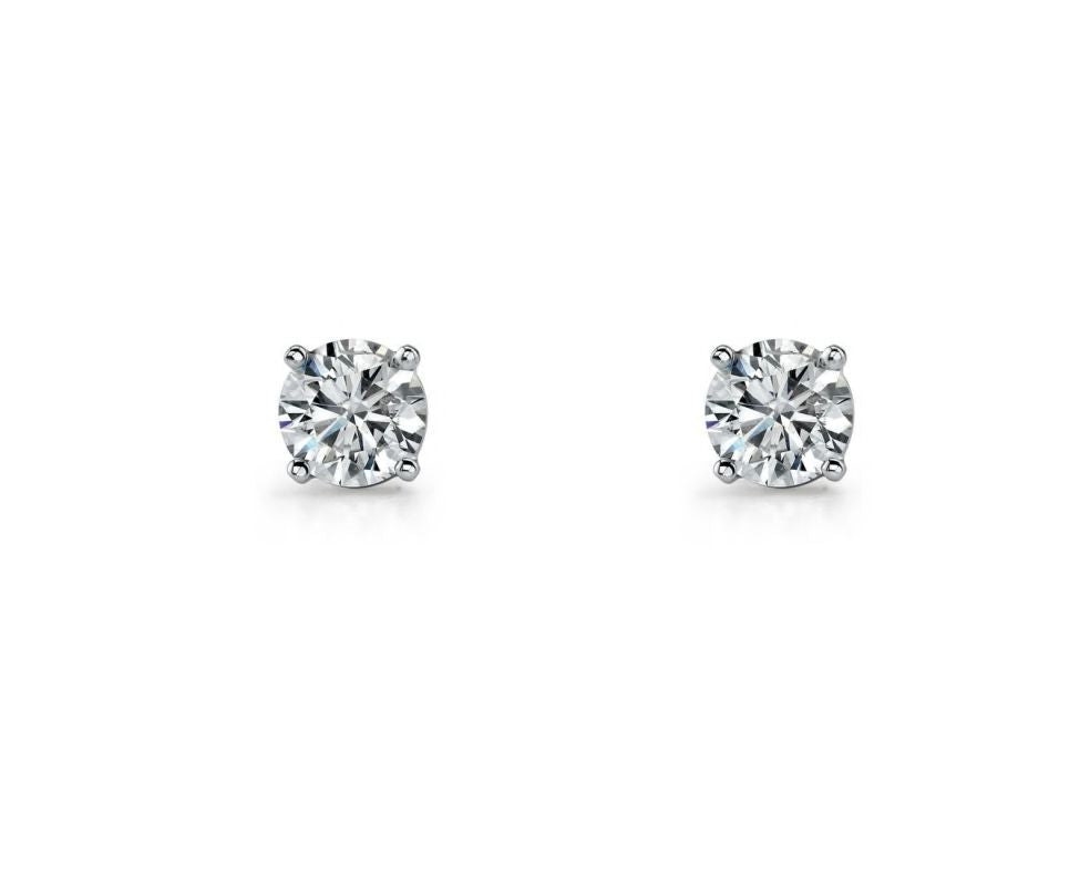 Sterling Silver Round Brilliant Cut White Cz Stud Earrings
