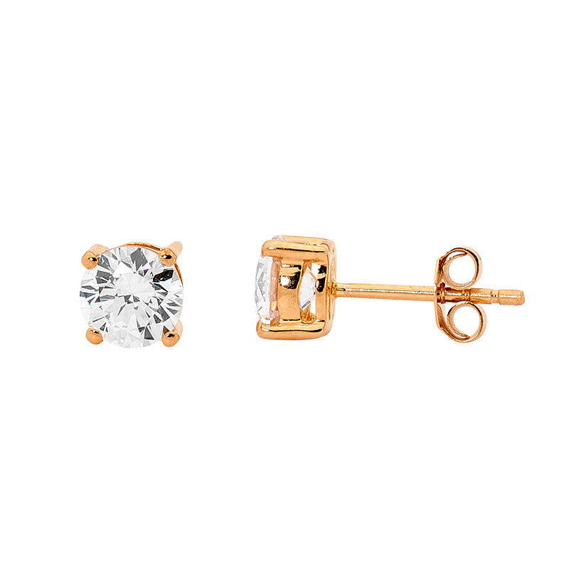 Ss 5Mm Round Wh Cz Claw Set Studs W/ Rose Gold Plating
