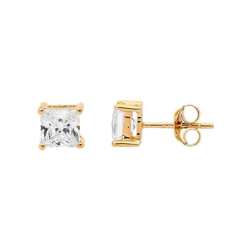 Princess Cut White Cz Claw Studs With Gold Plating