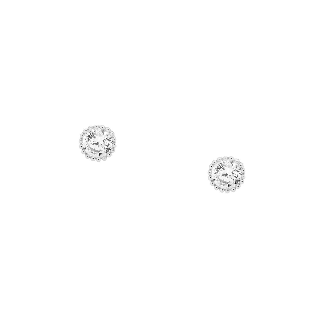 Ss 4Mm Wh Cz Crown Set Earrings