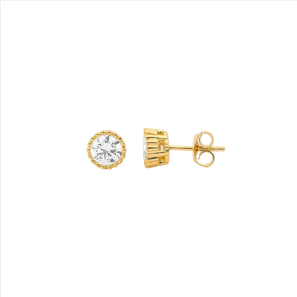 Ss 4Mm Wh Cz Crown Set Earrings W/ Gold Plating