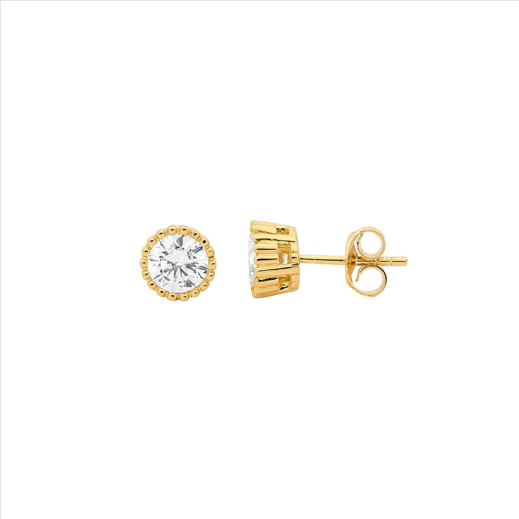 Yellow Gold Plated Crown Set White Cz Stud Earrings