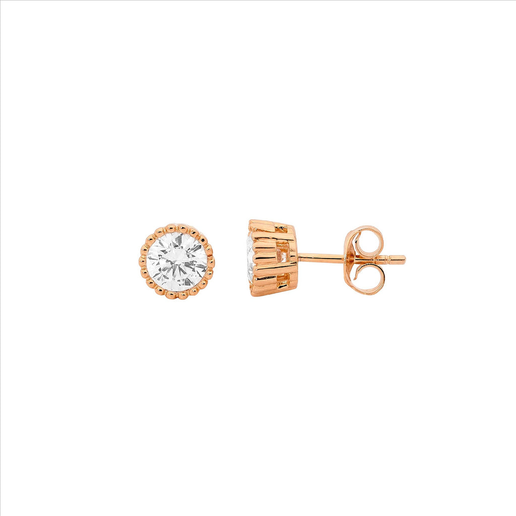 Ss 5Mm Wh Cz Crown Set Earrings W/ Rose Gold Plating - Rrp $54