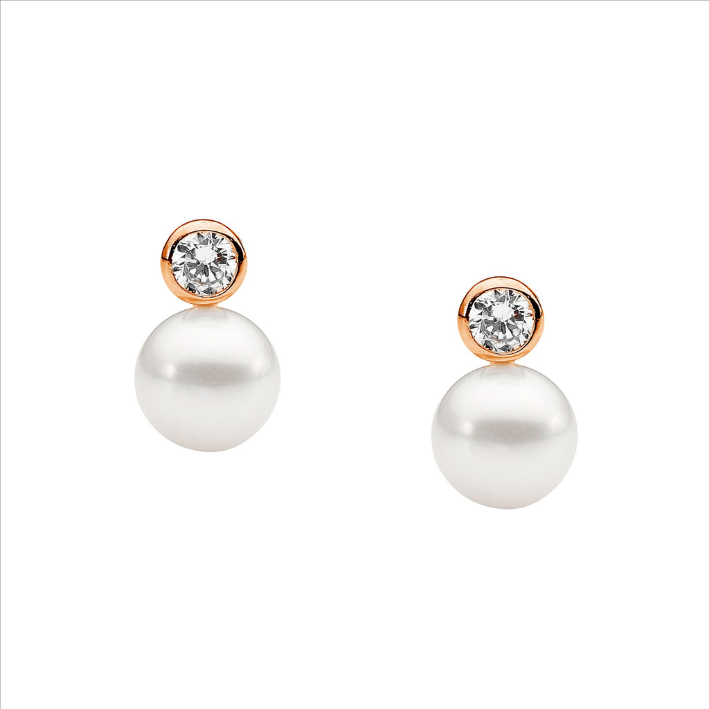 Ss 4Mm Bezel Set Wh Cz, 7Mm Freshwater Pearl Earrings W/ Rose Gold Plating