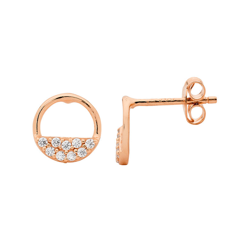 Ss 9Mm Open Circle Earrings, 2 Rows Wh Cz W/ Rose Gold Plating9