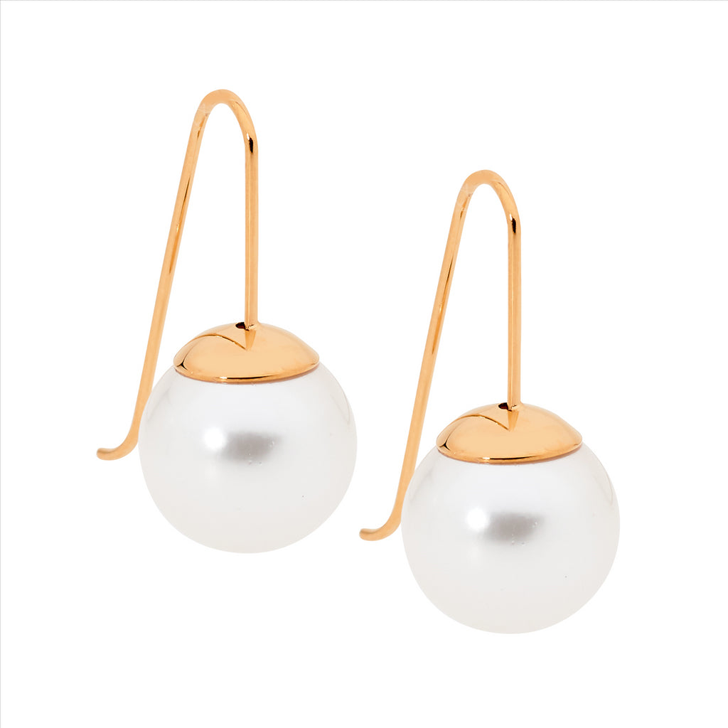 Stainless Steel Drop Earrings W/ 12Mm Shell Pearl & Rose Gold Ip Plating