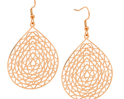 Rose Gold Abstract Tear Drop Earring