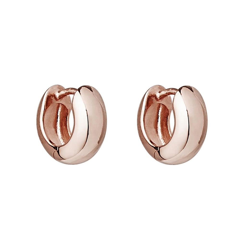 Najo Sterling Silver Rose Gold Plated Silver Hinged Huggie Earring