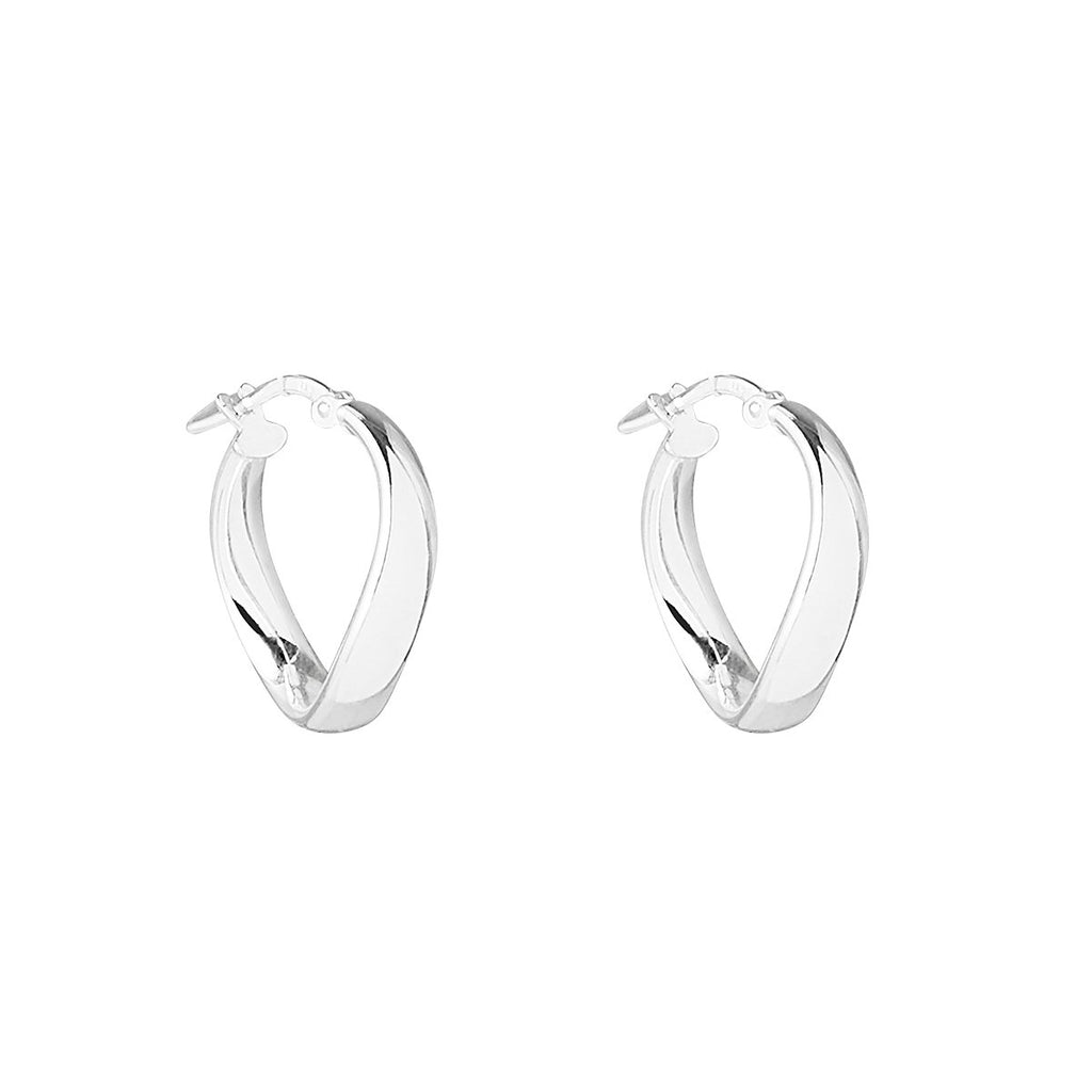 4X19mm Silver Tube, Circular Wavy Hoop Earring With Lever Catch, Antitarnish Finish