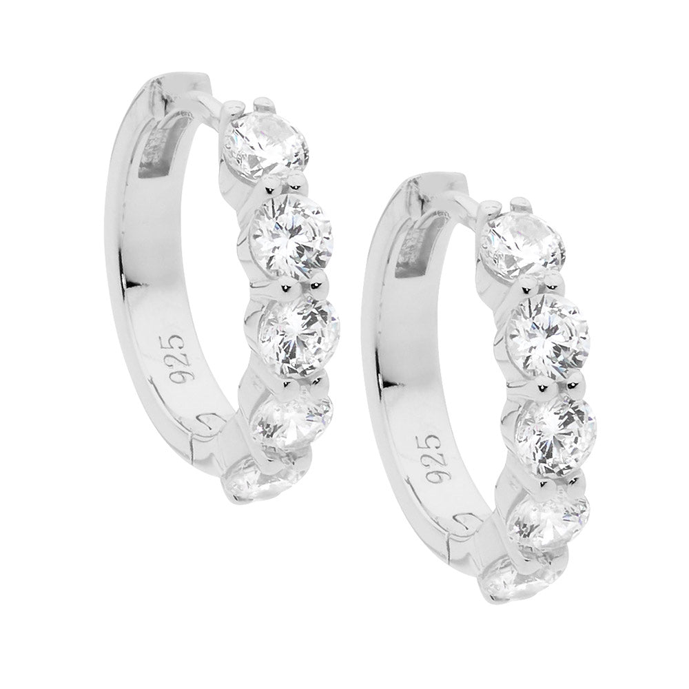 Sterling Silver Hoops With Cz's