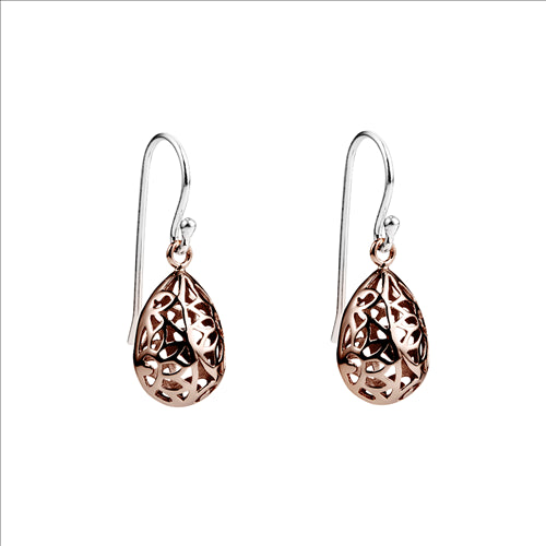 Silver Rose Gold Plated Teardrop Earrings