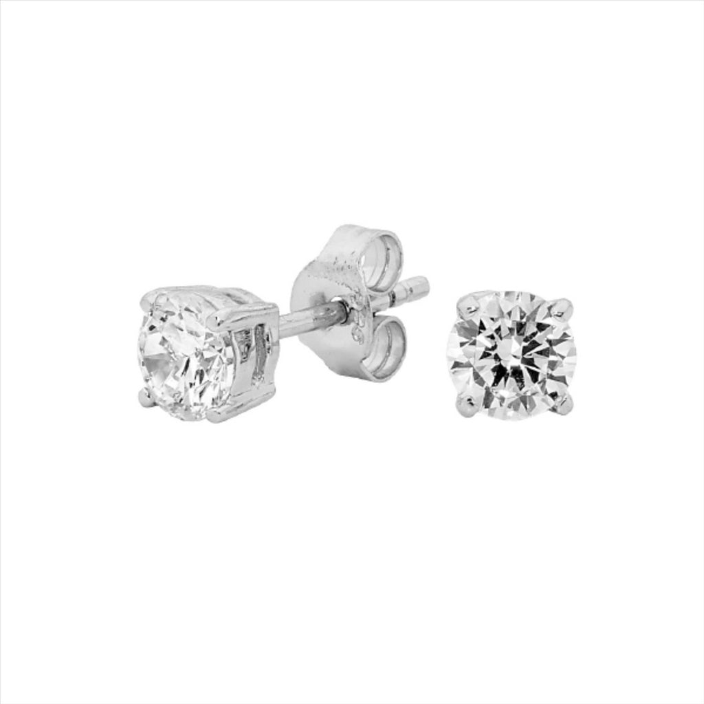 Georgini 5Mm Clear Round Stud Silver