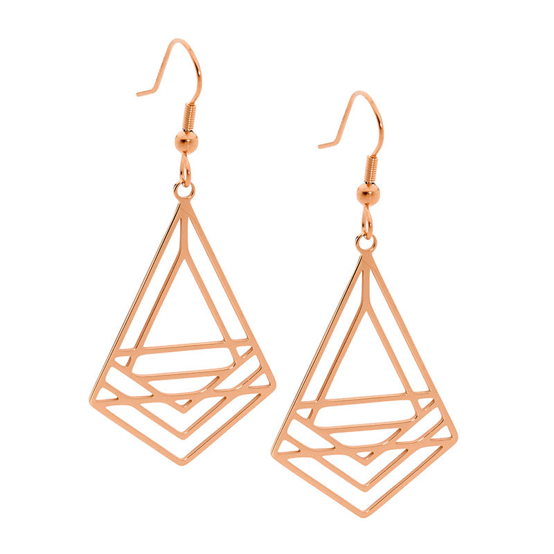 Stainless Steel Abstract Triangle Drop Earrings Rose Gold