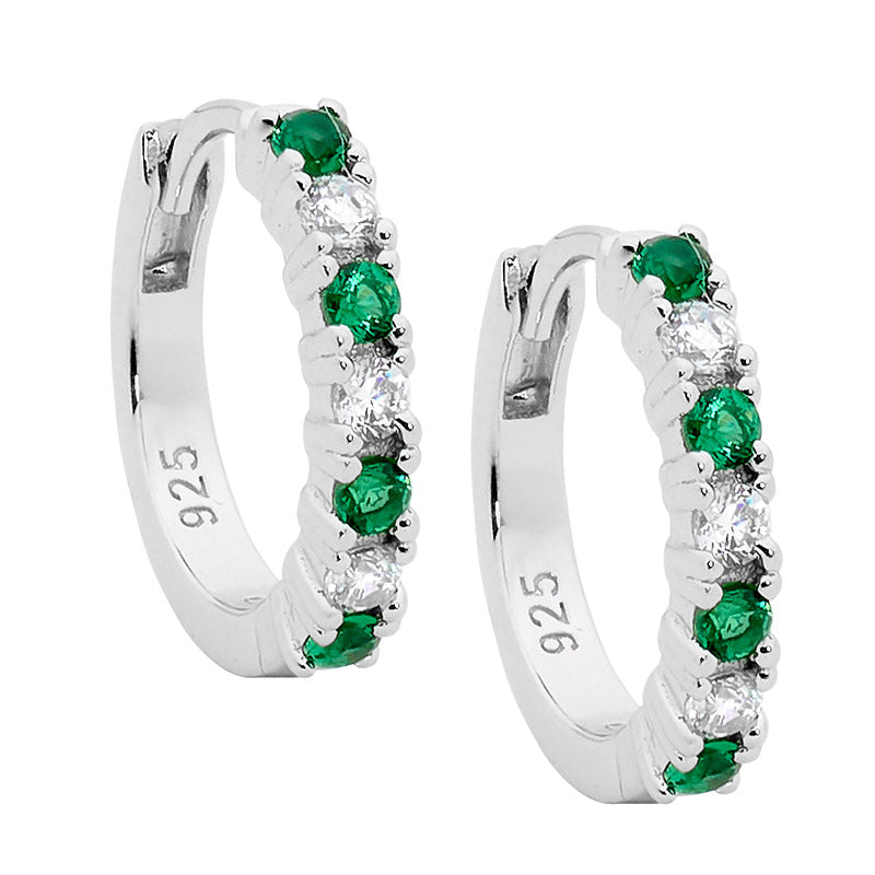Hoop Earrings W/ White & Green Cz