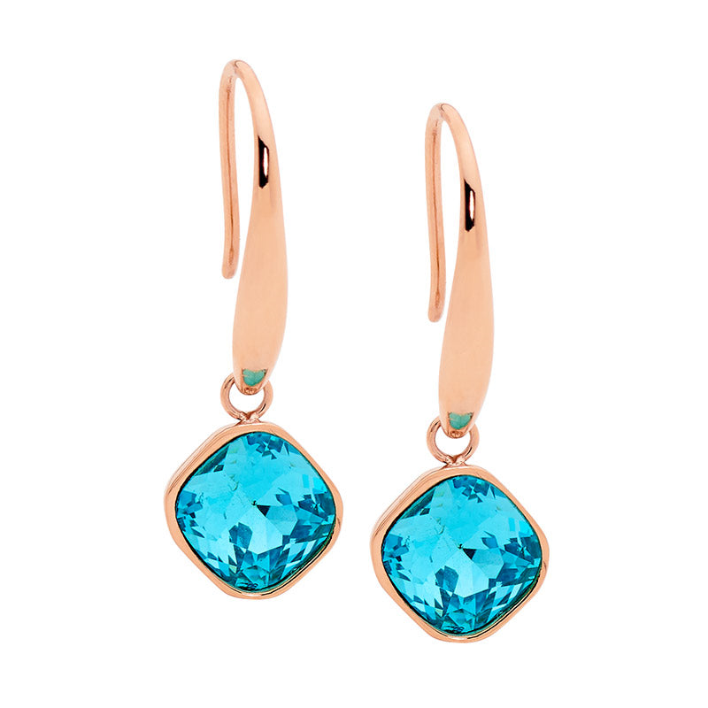Mint Glass Square Drop Earrings W/ Rose Gold Ip Plating
