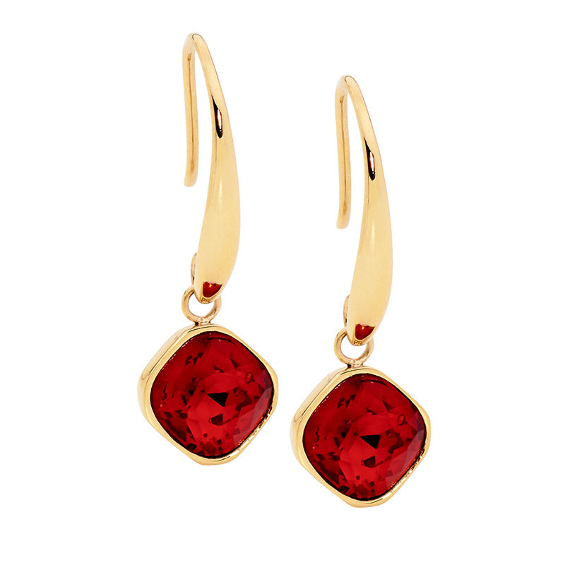 Red Glass Square Drop Earrings W/ Gold Ip Plating