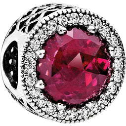 Cerise Radiant Hearts Openwork Silver Charm