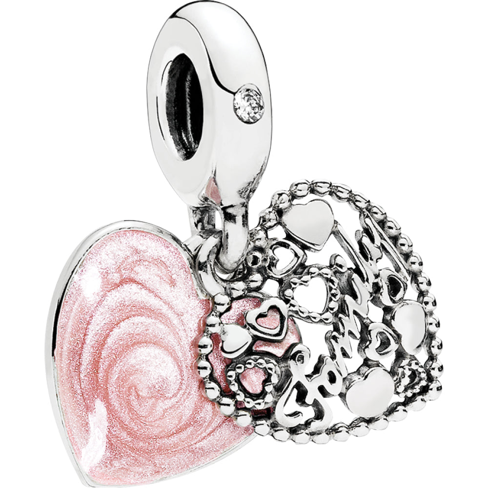 Love Makes A Family Silver Hanging Charm W Shimmering Pink Enamel & Cz