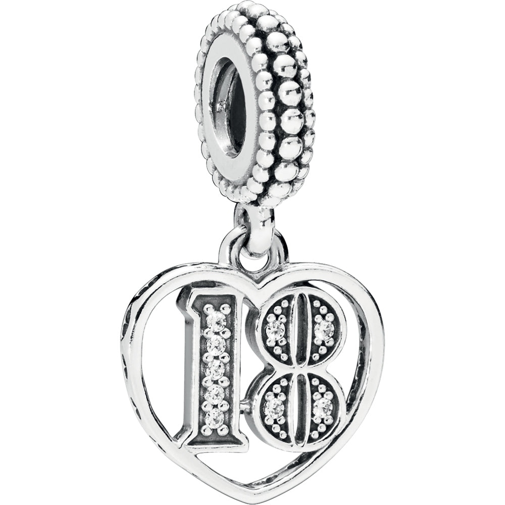 18 Years Of Love Silver Hanging Charm