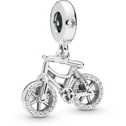 Brilliant Bicycle Silver Hanging Charm With Clear Cz