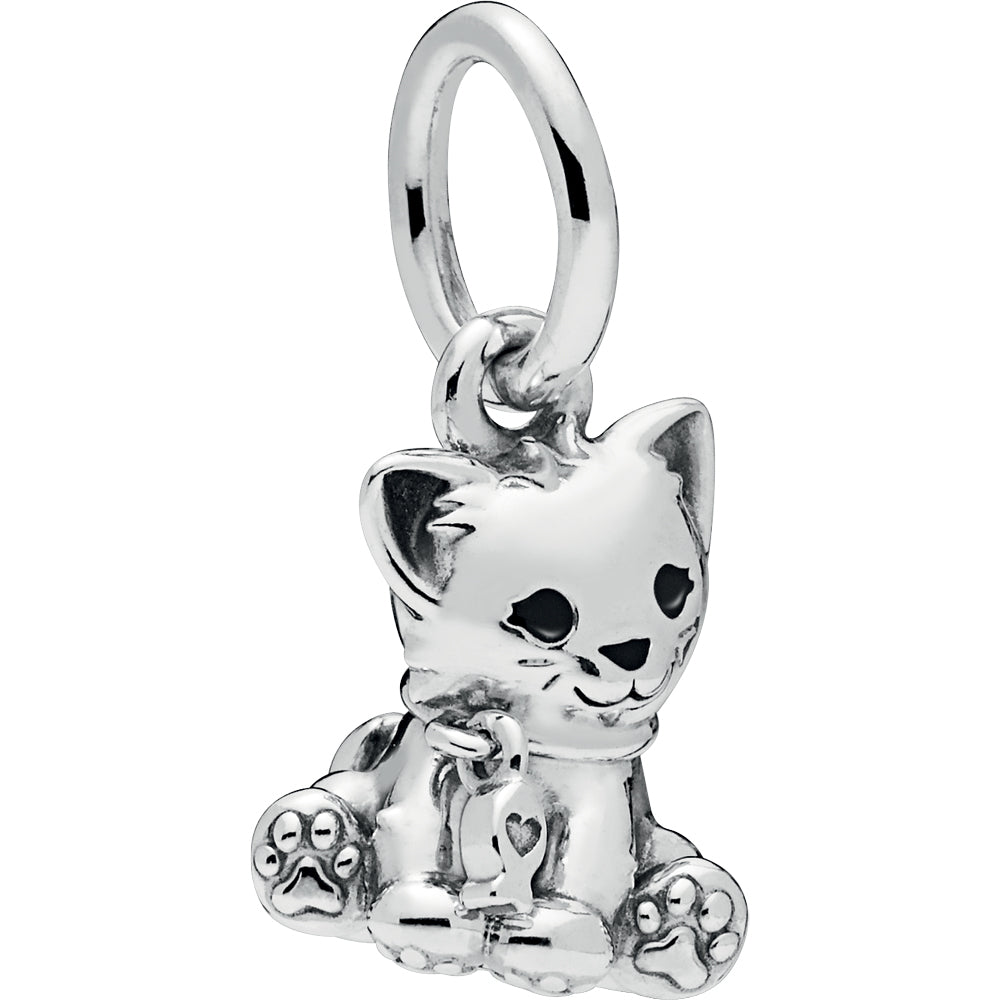Sweet Cat Silver Hanging Charm