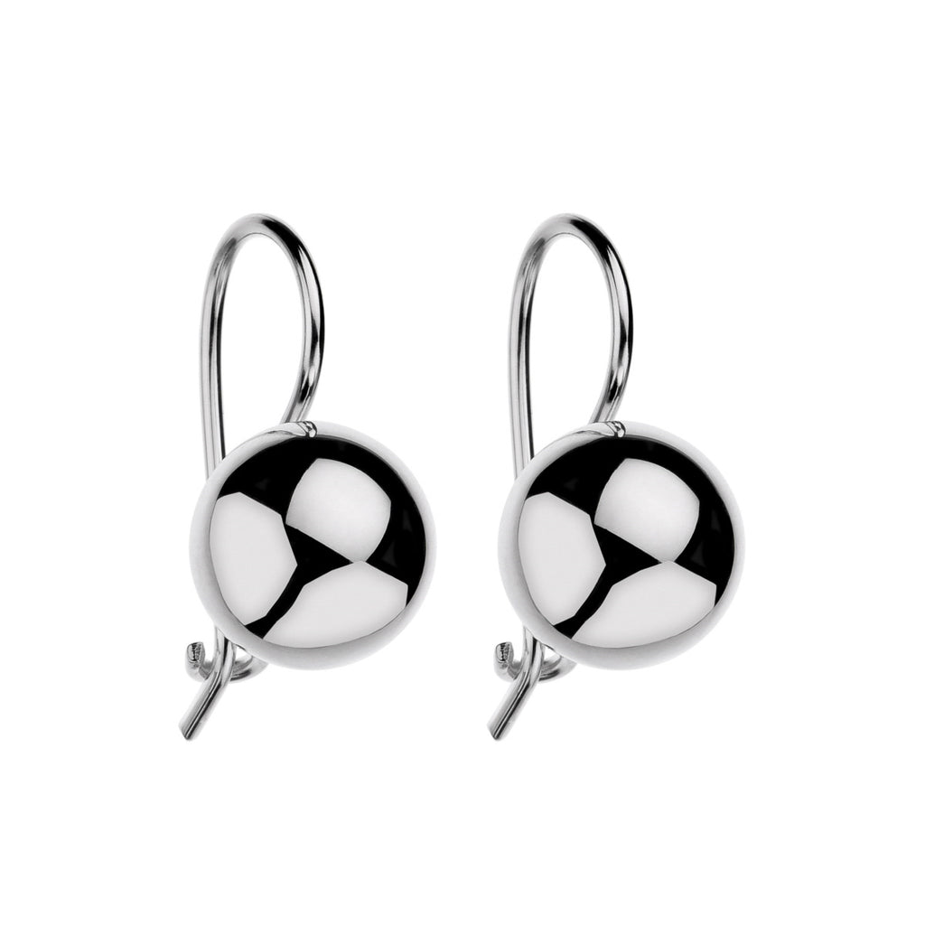 Drop Ball Silver Earrings