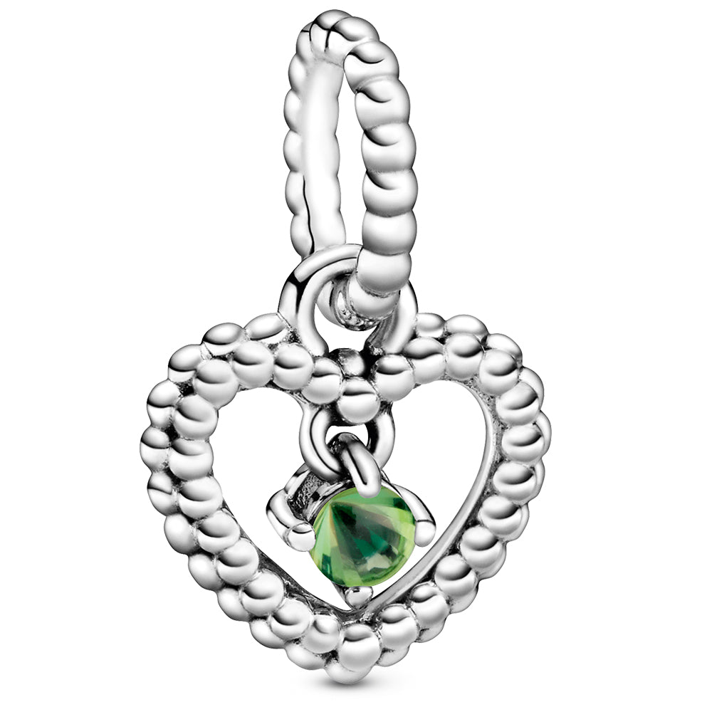 August Spring Green Heart Silver Hanging Charm With Man-Made Spring Green Crystal