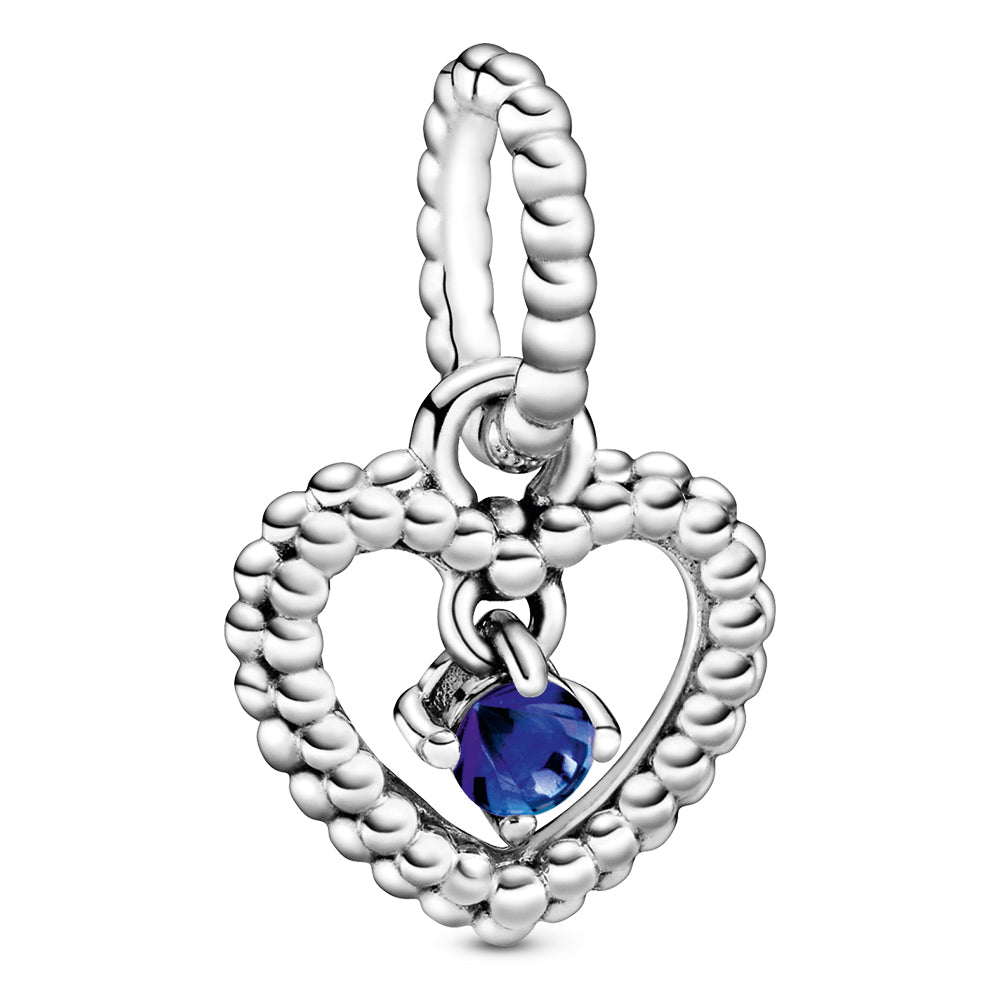September Royal Blue Heart Silver Hanging Charm With Man-Made Royal Blue Crystal