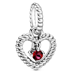 July Passionate Red Heart Silver Hanging Charm
