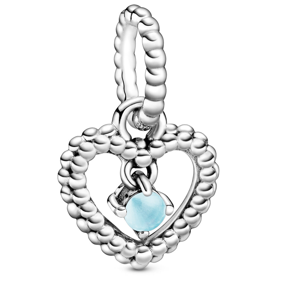 December Sky Blue Heart Silver Hanging Charm