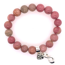 Rhodonite Stretchy Bracelet 10Mm Beads.