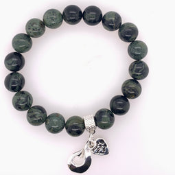 Greenstone Stretchy Bracelet 10Mm Beads. Twist