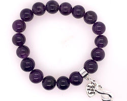 Amethyst Stretchy Bracelet 10Mm Beads.